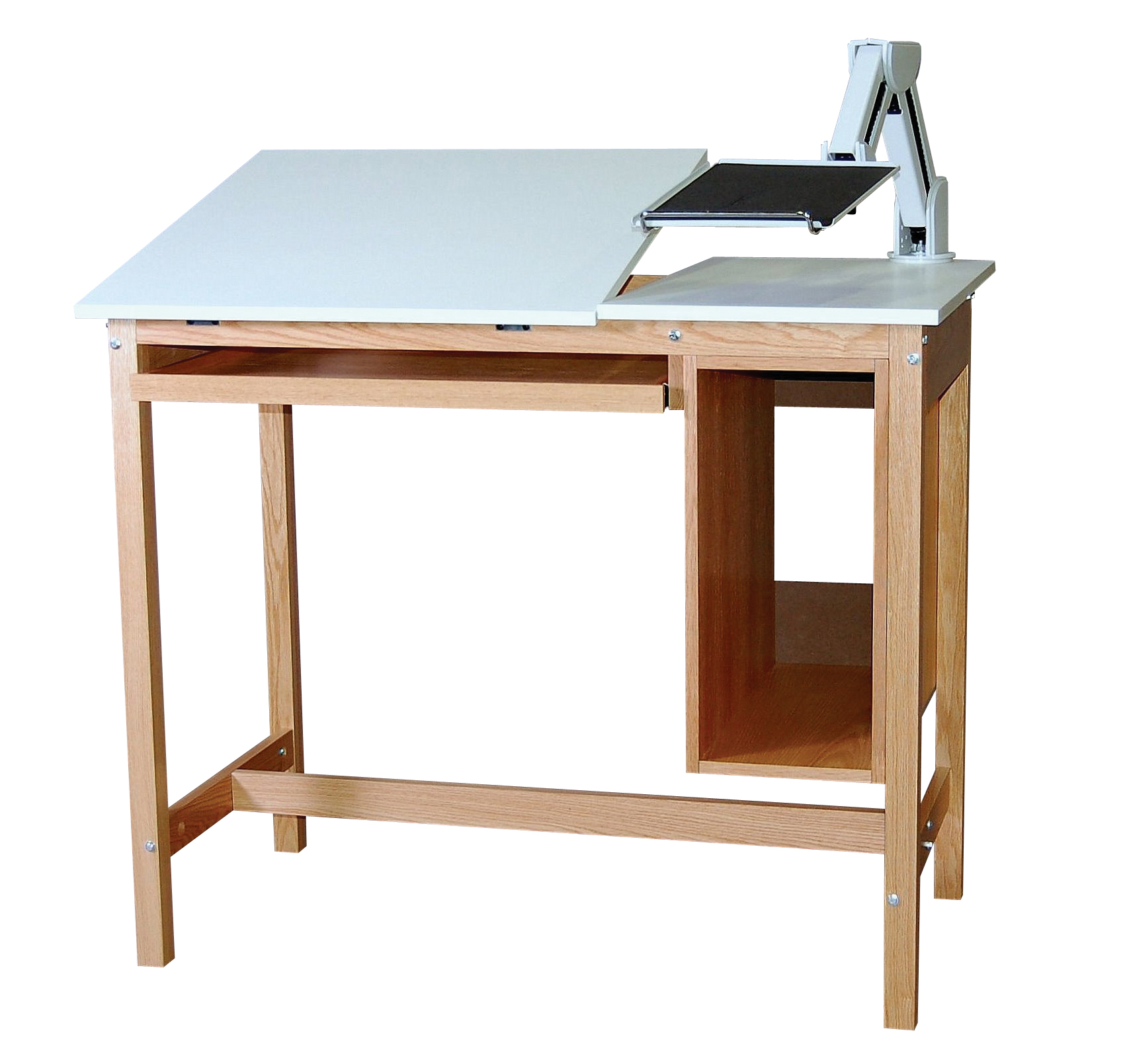 Oak computer table 38 3 4 high engineering books and for Domesticated engineer table