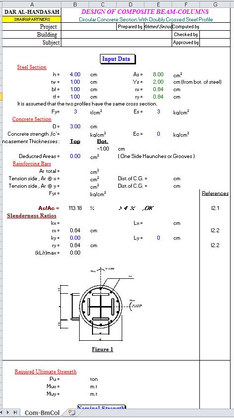 Circular Composite Beams Columns Design Spreadsheet Calculator