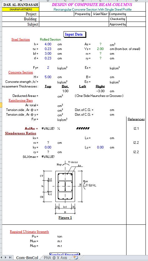 Composite Rectangular Beam and Columns Spreadsheet ...