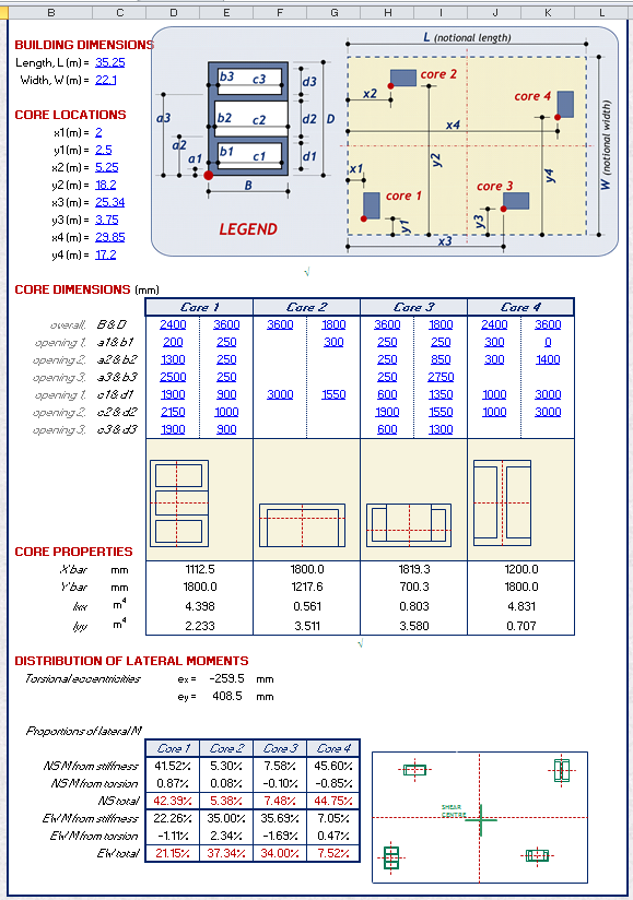 Shear Wall Design Xls : Core shear wall design spreadsheet calculator engineers edge engineersedge