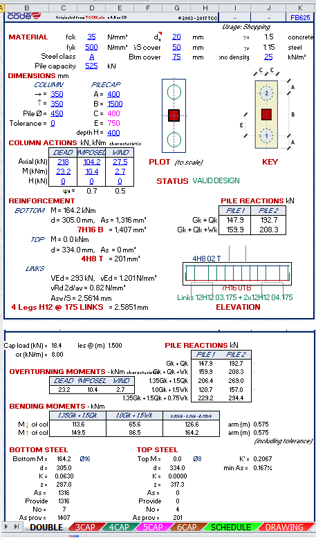 Pile Cap Design to Eurocode Spreadsheet Calculator