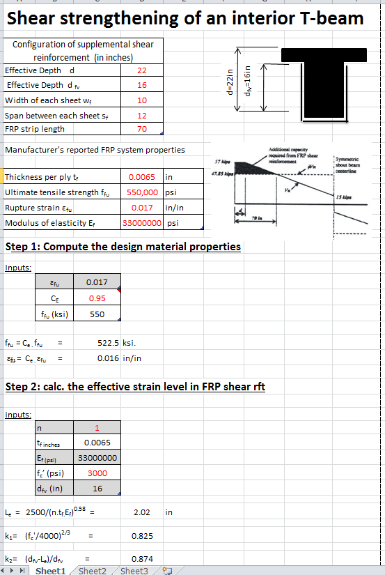 Shear Strengthening of T-beam with FRP Spreadsheet Calculator
