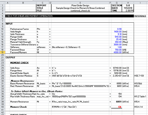 Plate Girder Design Spreadsheet Calculator Check for Moment and Shear Combined