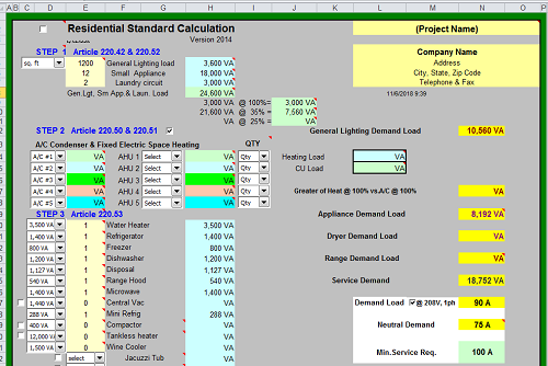 Residential Electrical Load And Requirements Calculations Spreadsheet