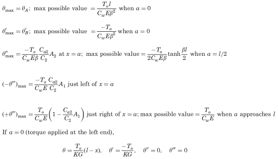 Supplemental selected special cases and maximum values (not included in calculator).