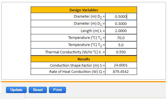 Preview Conductive Heat Transfer Square Pipe Calculator