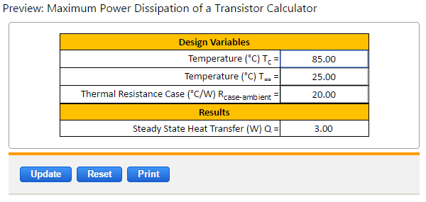 Maximum Power Dissipation Transistor Equations And