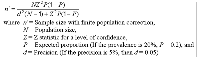 Formula WITH finite population correction: