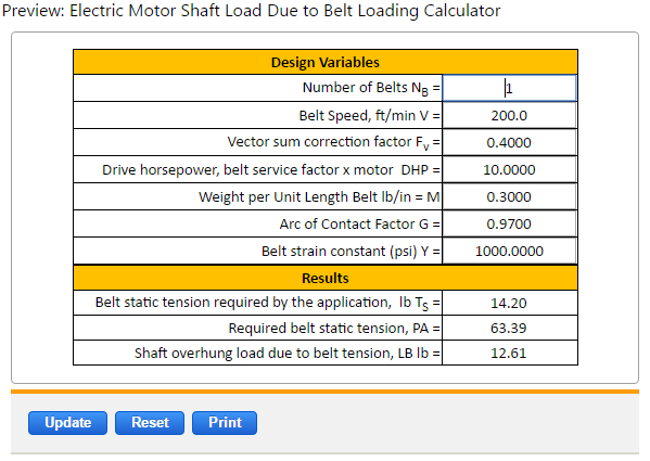 Motor Shaft Load Due To Belt Loading Equations And