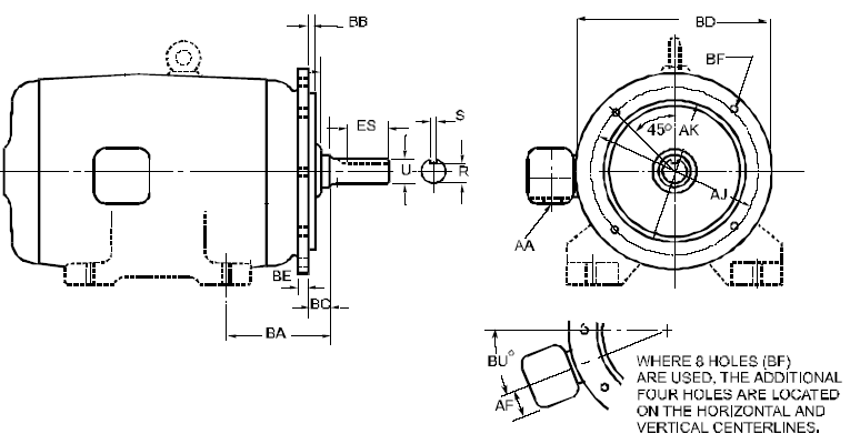 Nema flange mounting type d footless motors engineers for Nema design b motor