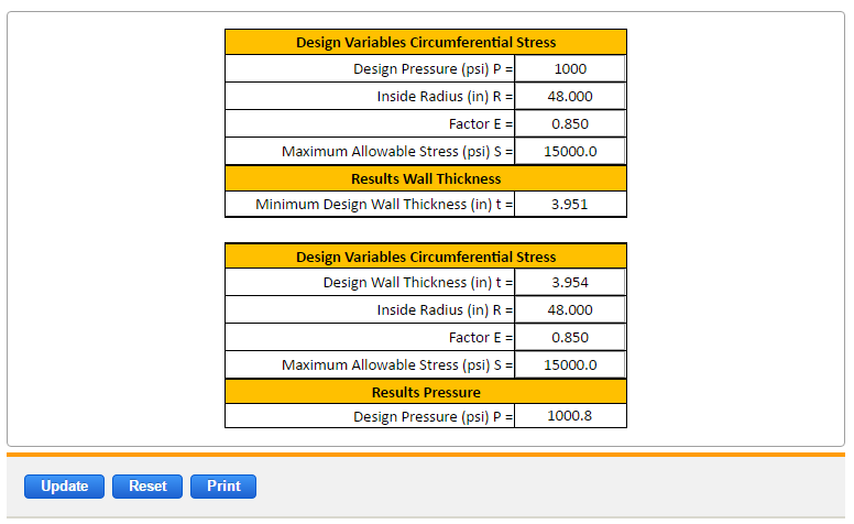 Thin Wall Pressure Vessels Asme Equation And Calculator