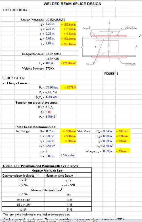 Welding Splice Design of Beam Spreadsheet Calculator | Engineers
